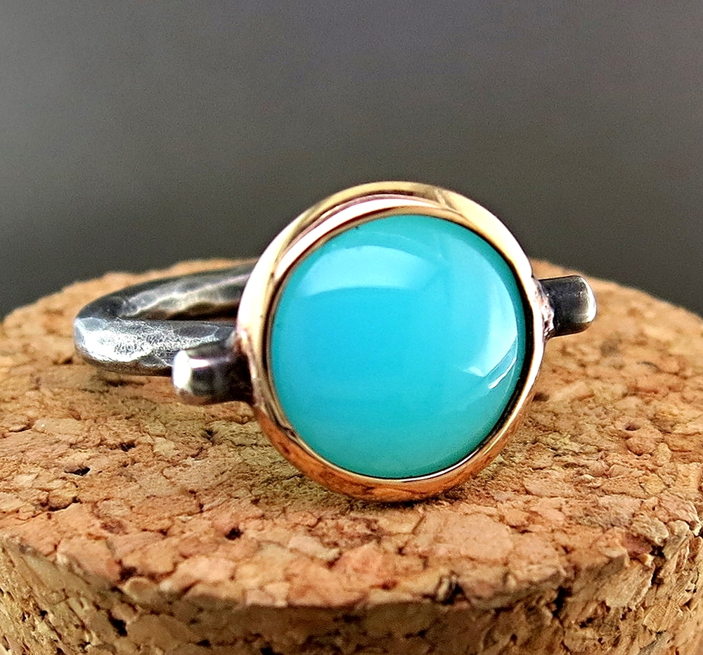 18 Karat Rose Gold and Hand Forged Silver Chalcedony Ring (MB64)