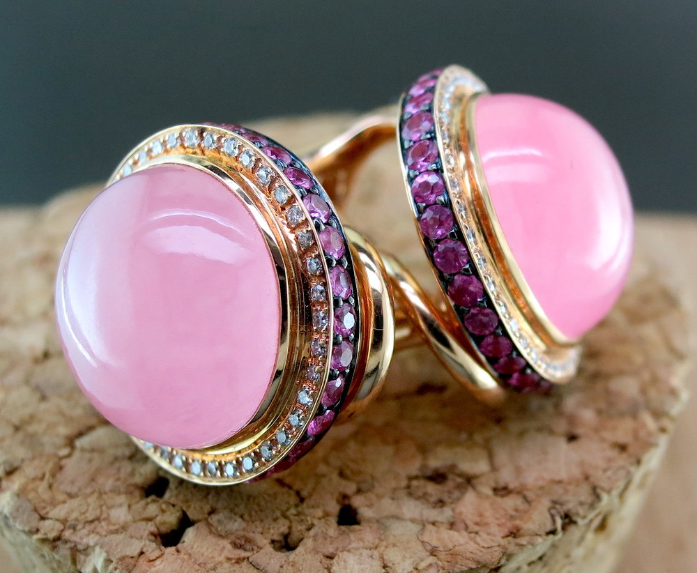 18 Karat Rose Gold, Pink Jade, Diamond, and Sapphire Earrings (MB91)