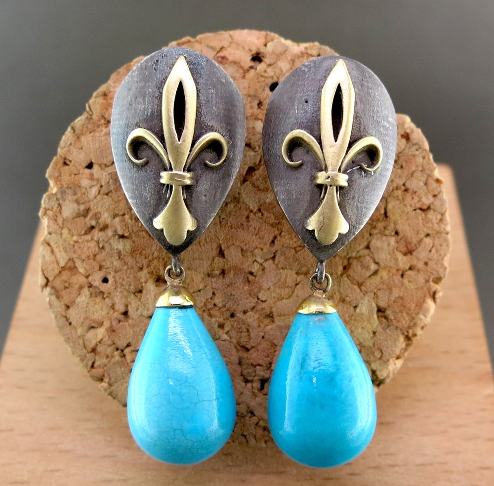 Hand Forged Silver, 18 Karat Yellow Gold, and Turquoise Fleur de Lis Earrings (MB1065)