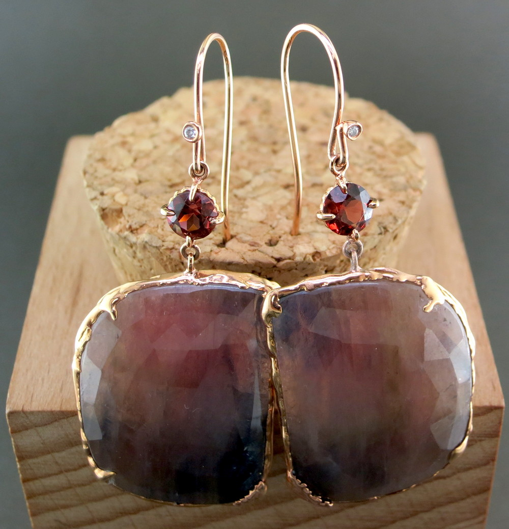 18 Karat Rose Gold, Sapphire, and Garnet Dangle Earrings, accented with Diamonds (MB5090)