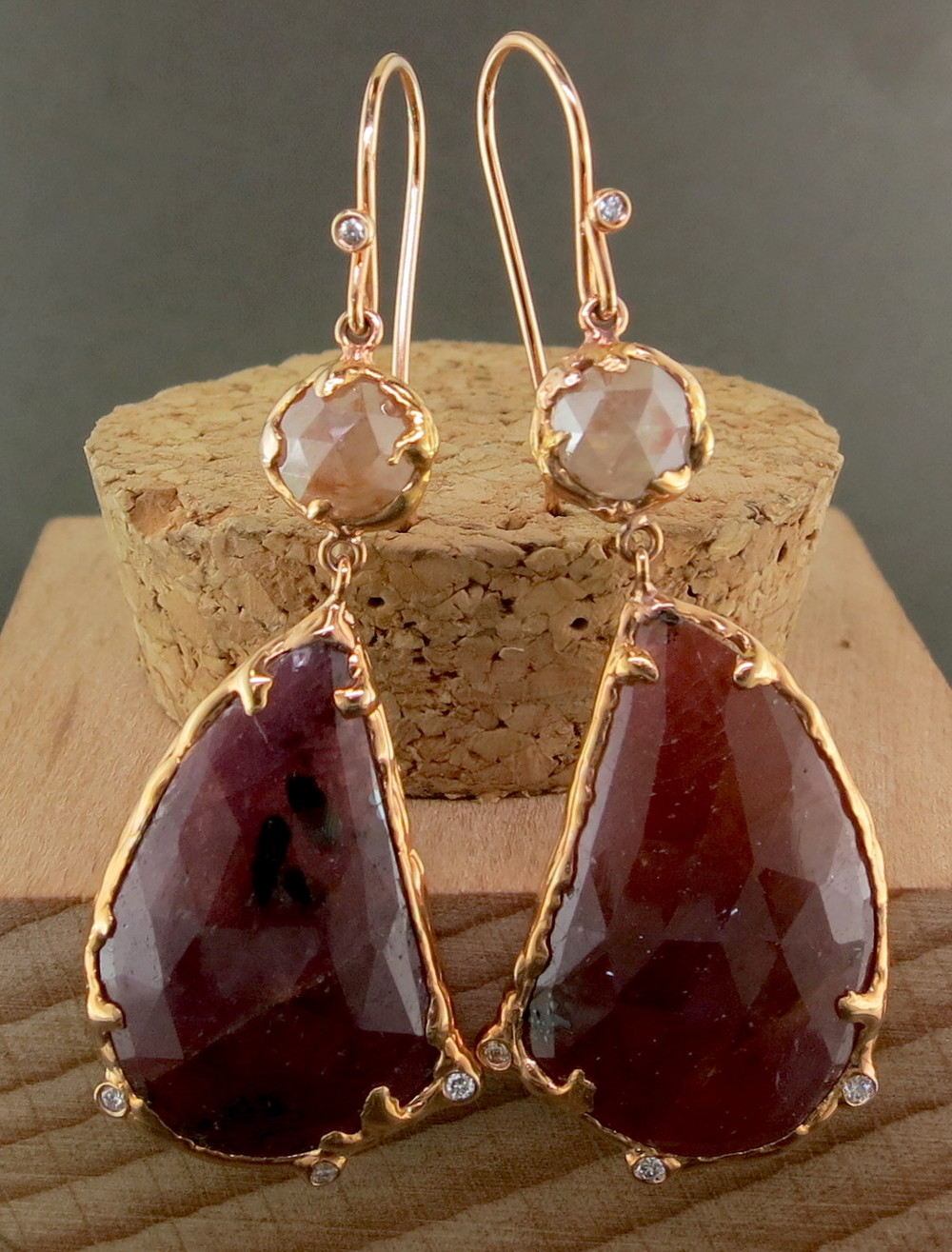 18 Karat Rose Gold, Sapphire, and Raw Diamond Dangle Earrings, accented with White Diamonds (MB32605)