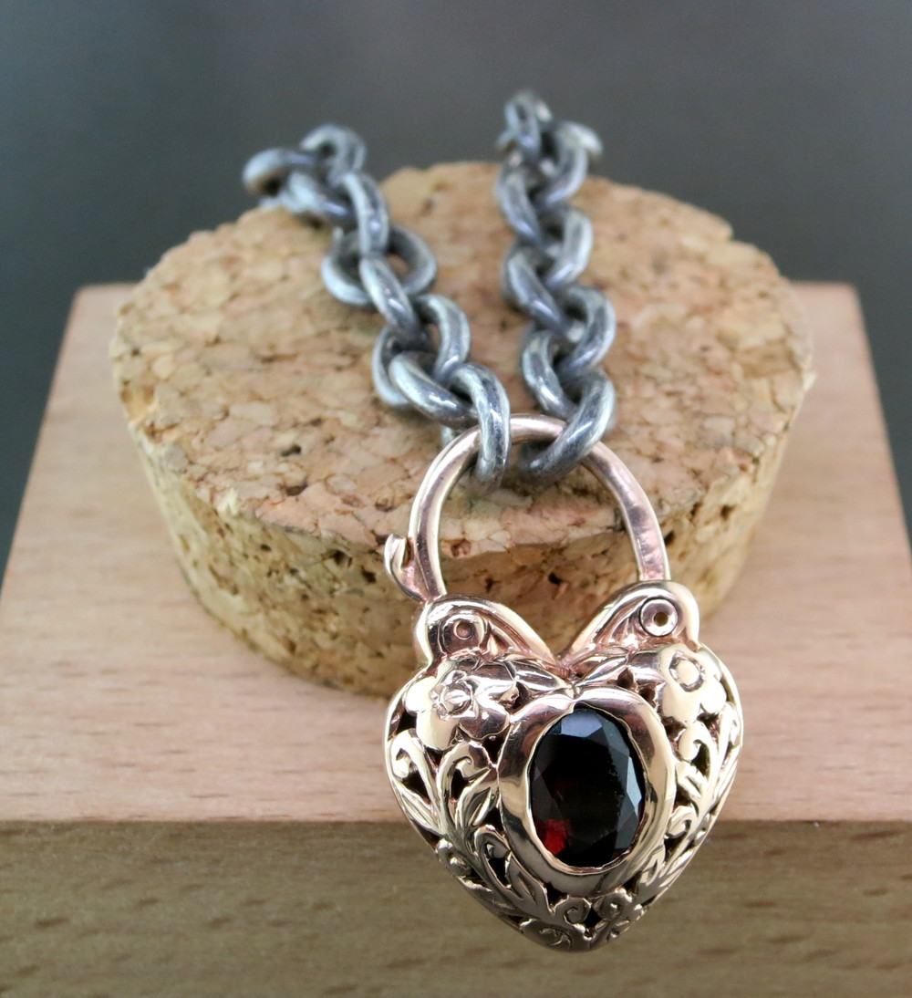 Organic Silver and 18 Karat Rose Gold Heart-Shaped Bracelet, with a Garnet Center Stone (MB575)
