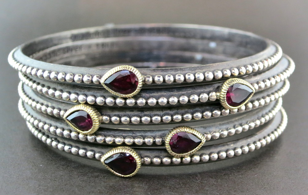 Hand Forged Silver, 18 Karat Yellow Gold, Garnet, and Rhodolite Stackable Bangle Bracelet (Available with Single, Double, or Triple Stones)