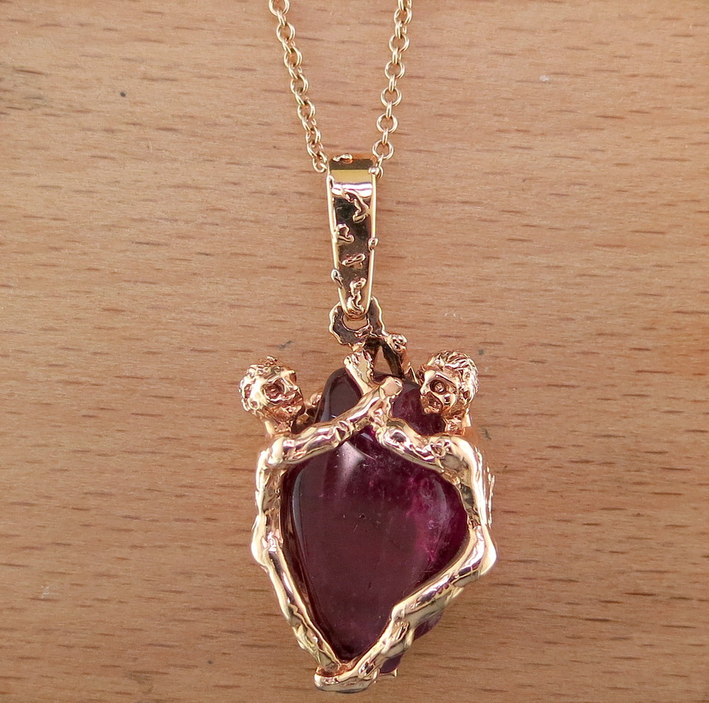 14 Karat Rose Gold and Tourmaline Pendant on a 14 Karat Rose Gold Chain (MB832 and MB14930)