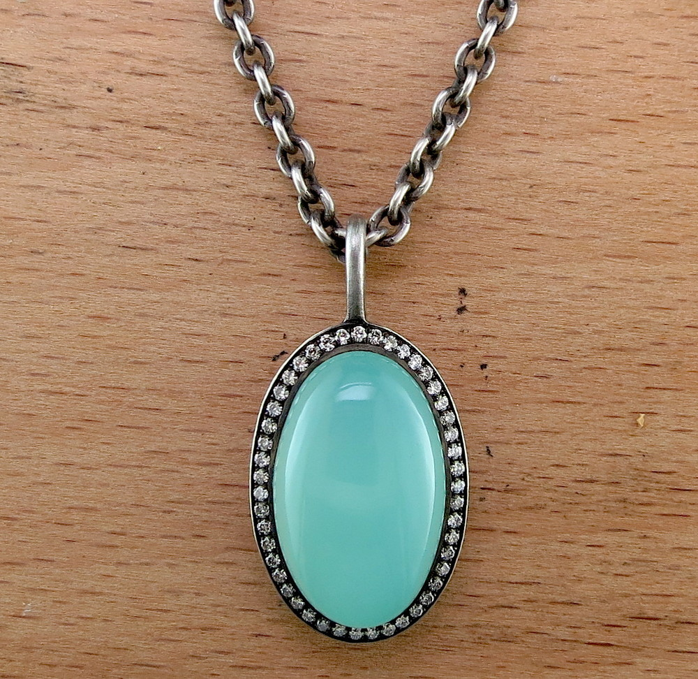 Organic Silver, Chalcedony, and Diamond Pendant on an Organic Silver Chain (MB1081)