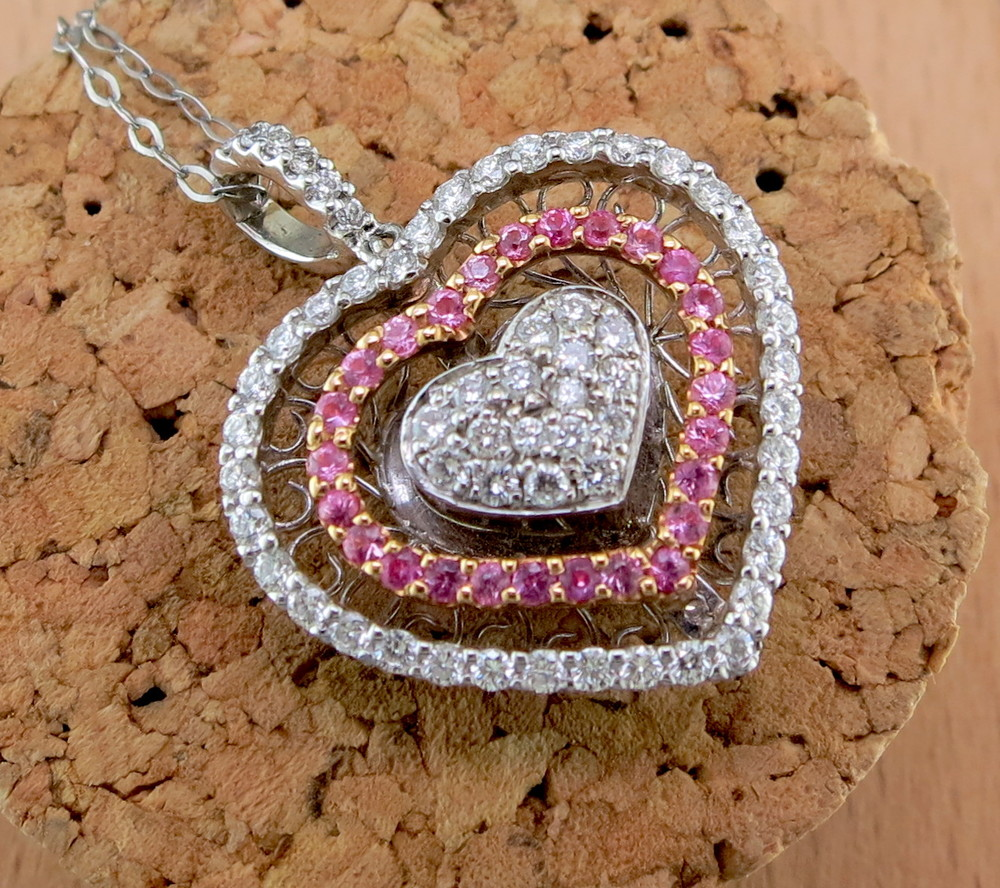 Platinum, Diamond, Sapphire, and 18 Karat Rose Gold Heart Pendant on an 18 Karat White Gold Chain (MB5260)