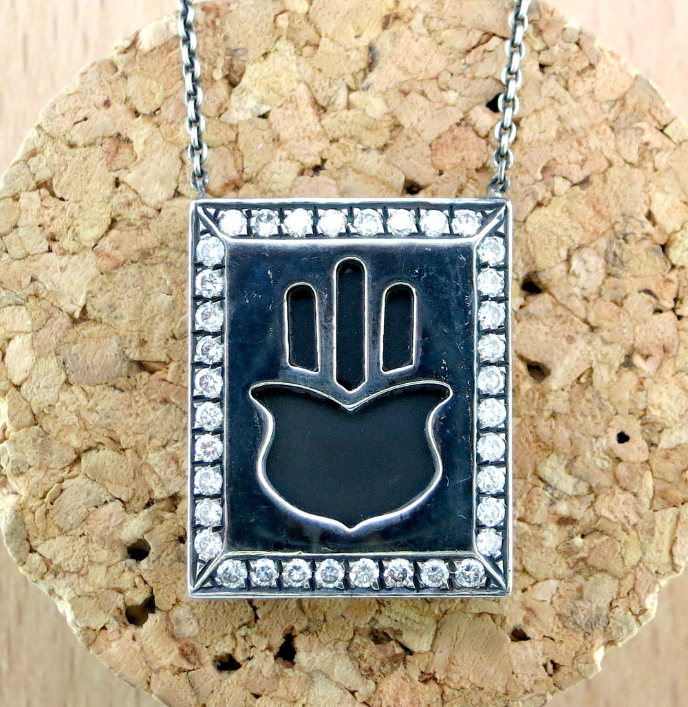 Hand Forged Silver, 18 Karat White Gold, Black Rhodium, and Diamond Hamsa Prayer Book Necklace (MB13930)