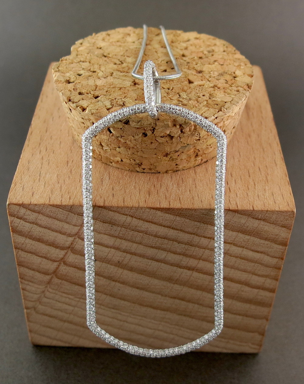 Platinum and Diamond Dog Tag Pendant on an 18 Karat White Gold Chain (MB31300)
