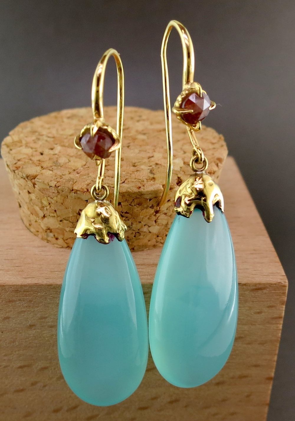 18 Karat Yellow Gold and Chalcedony Onyx Dangle Earrings, accented with Raw Diamonds