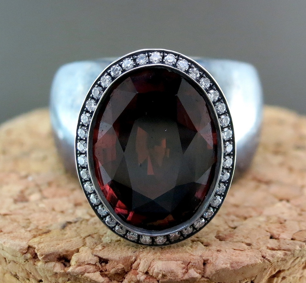 Hand Forged Silver and Red Zircon Ring, accented with Diamonds (MB41)