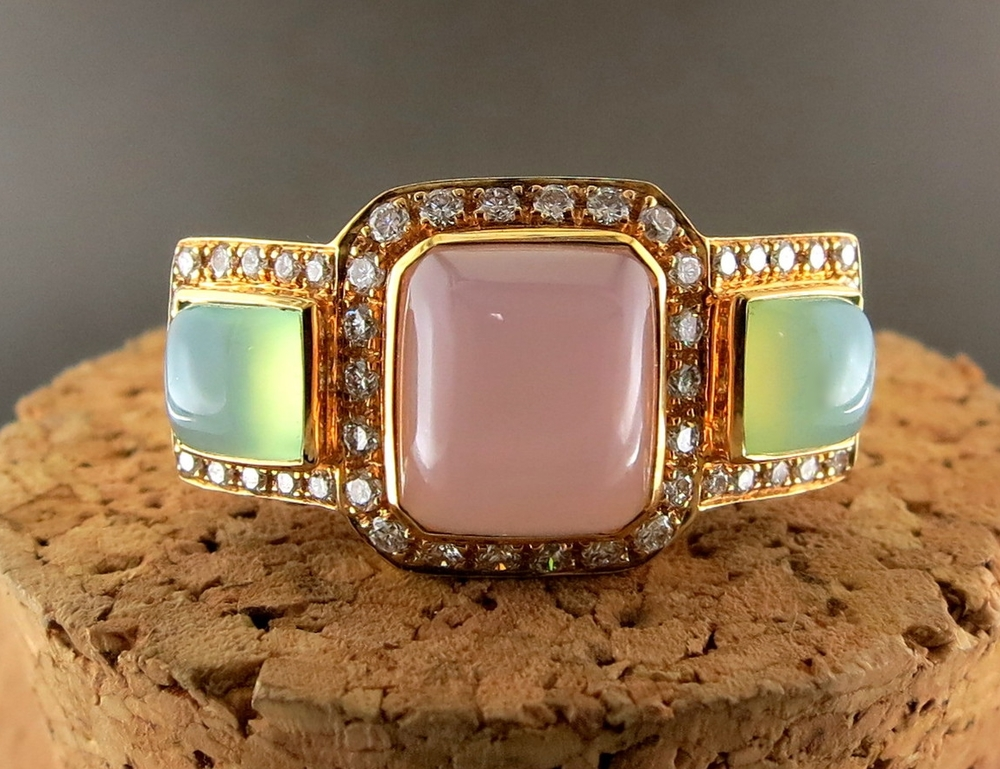 14 Karat Rose Gold and Chalcedony Ring, accented with Diamonds (MB105)