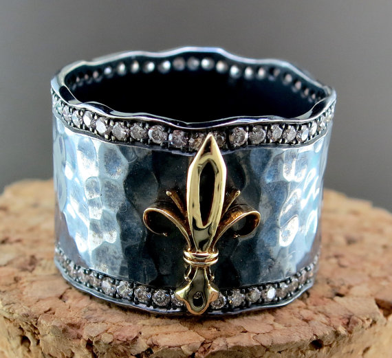 Hand Forged Silver, 18 Karat Yellow Gold, and Diamond Fleur de Lis Ring