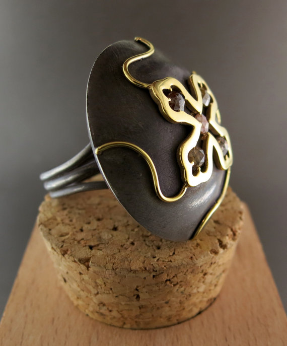 Hand Forged Silver and 18 Karat Yellow Gold Ring, accented with Raw Diamonds