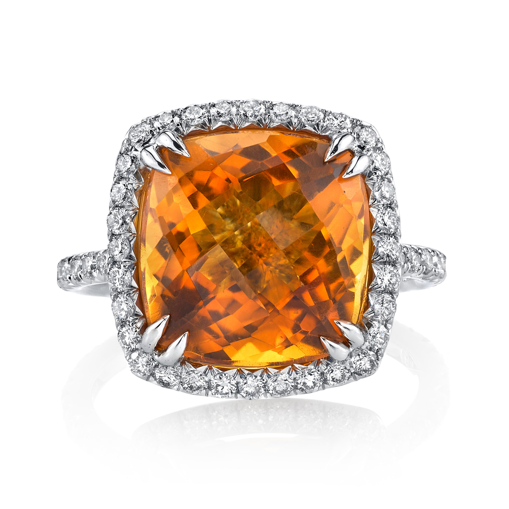 18 Karat White Gold and 6 CT Citrine Ring, accented with 1.08 CT White Diamonds