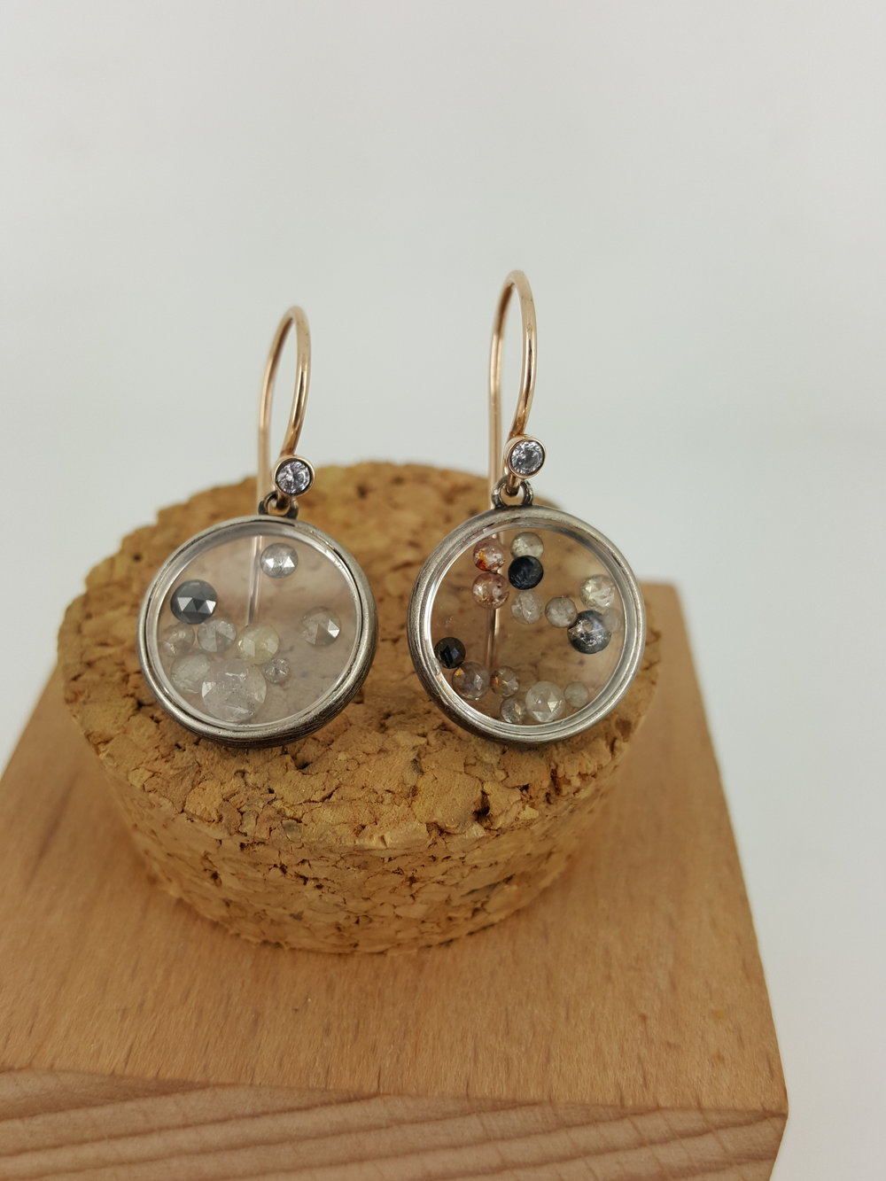 Organic Silver and 18 Karat Rose Gold, accented with Rustic diamonds framed in a sapphire crystal  Earrings.