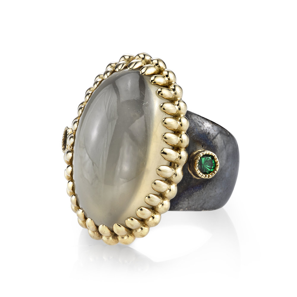 Moonstone Ring - Organic Silver and 18 Karat Yellow Gold,accented with Tsavorites.