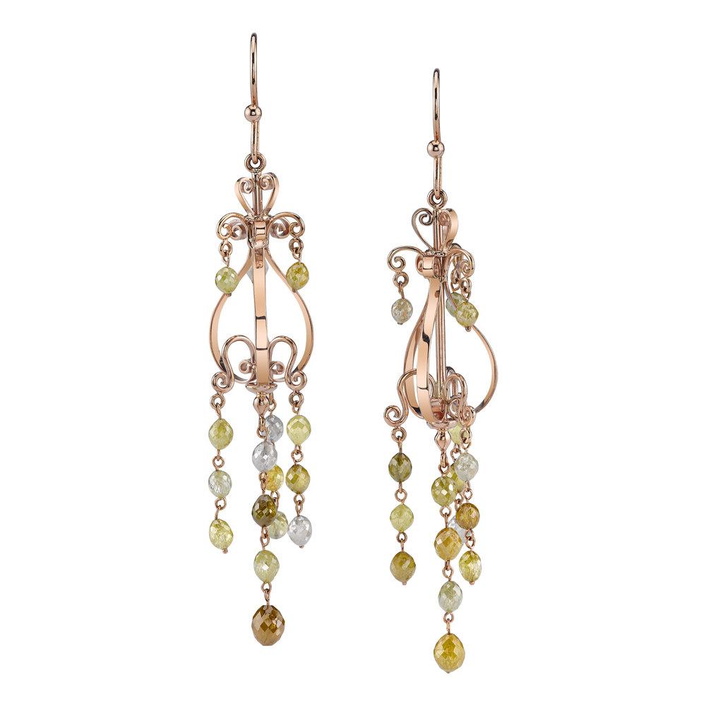 Rustic Diamonds Briolette CHANDELIER earrings set in 18 Karat Rose Gold.