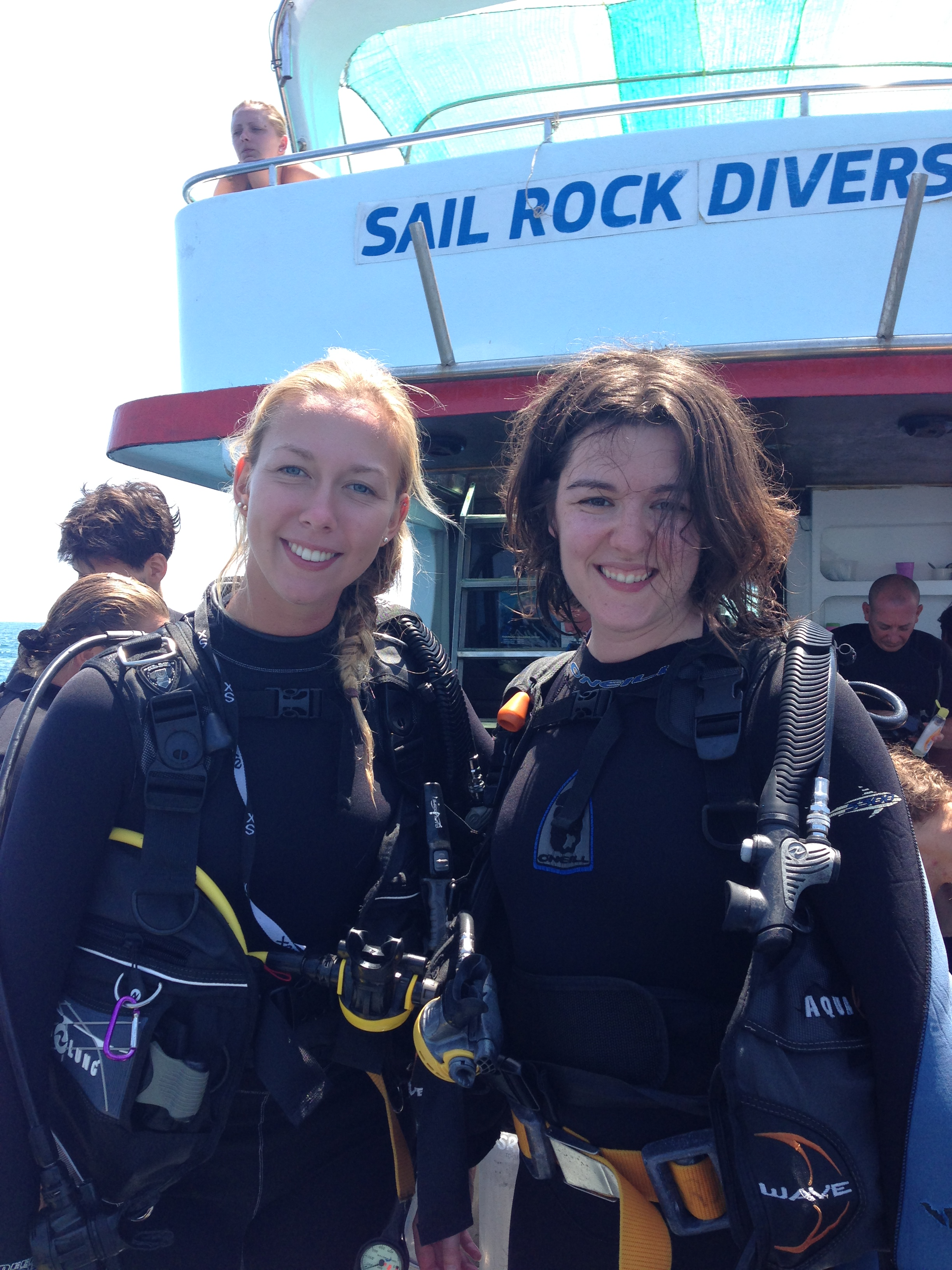 With my Sail Rock Divers instructor Emma looking like badass superheroes with messy hair.