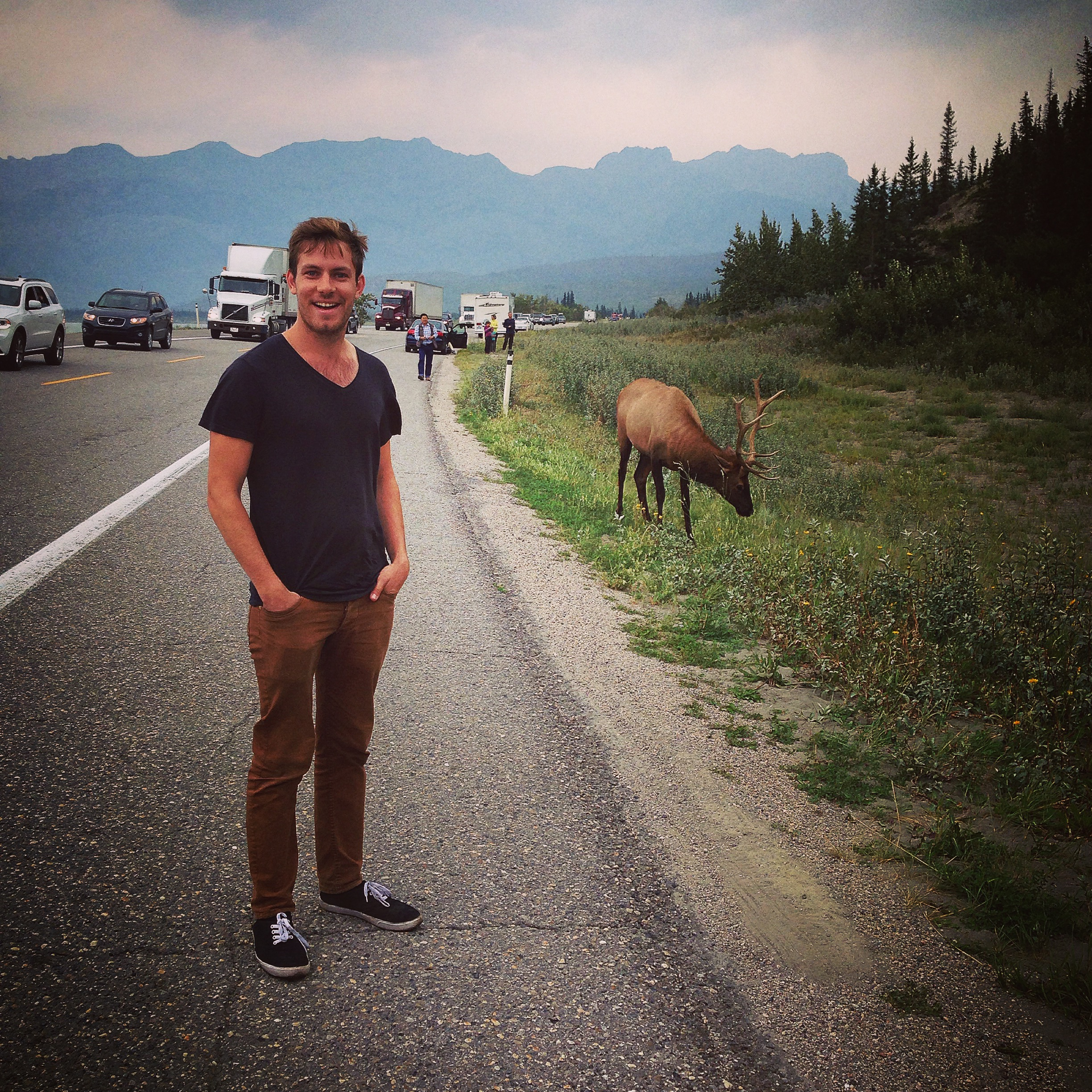 "And Cory got to scratch off ""Getting picture taken with wildlife"" off his road trip bucket list."