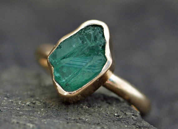 Etsy Rough Emerald in 18k gold ring