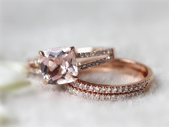 Etsy morganite bridal set cushion cut