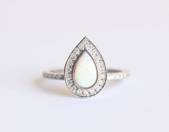 Etsy Opal Engagement Ring Halo Diamond