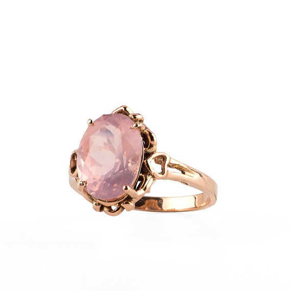 Etsy boho rose quartz ring 14k rose gold