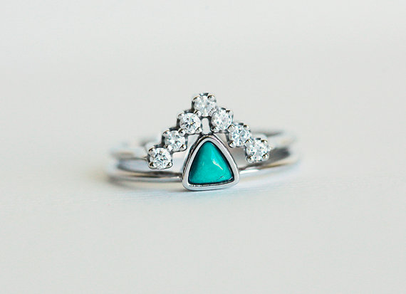 Etsy Wedding set turquoise ring with curved feet