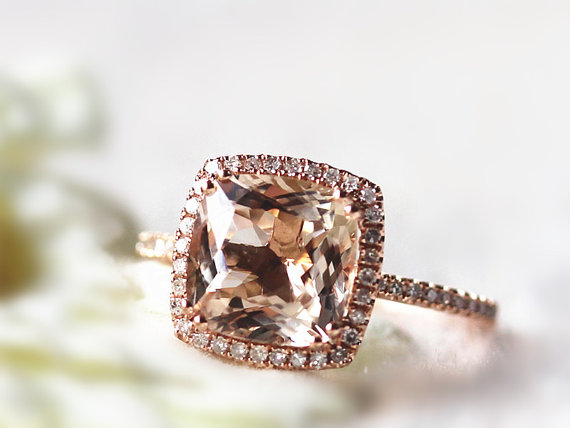 Etsy Rose gold cushion cut morganite