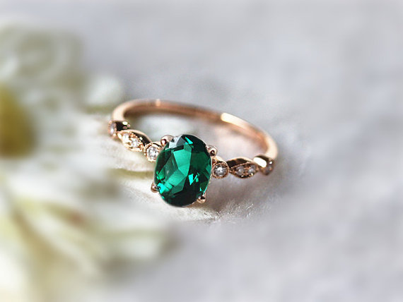 Etsy oval emerald engagement ring