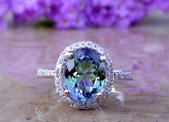 Etsy Tanzanite and diamond ring set in 14k