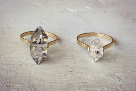 Etsy herkimer diamond ring gold fill band