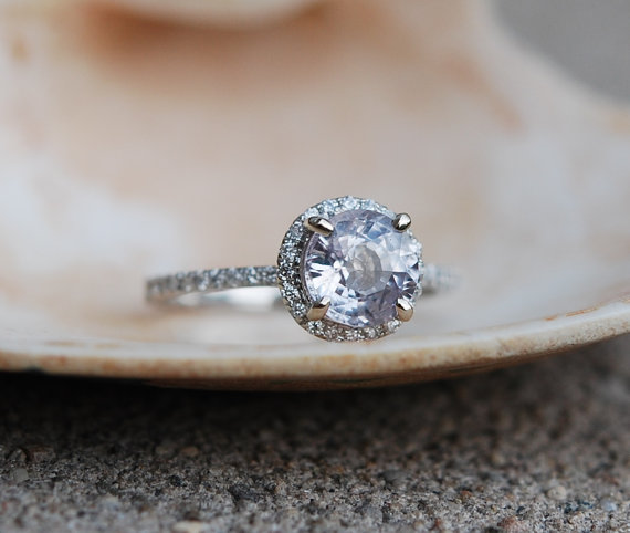 Etsy White Sapphire Engagement Ring