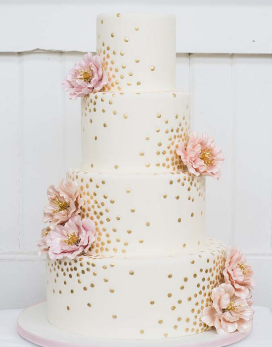 Metallic dots and pink flower cake