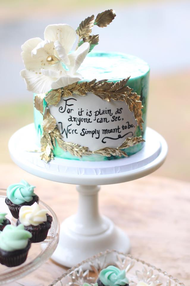 Watercolour quote cake