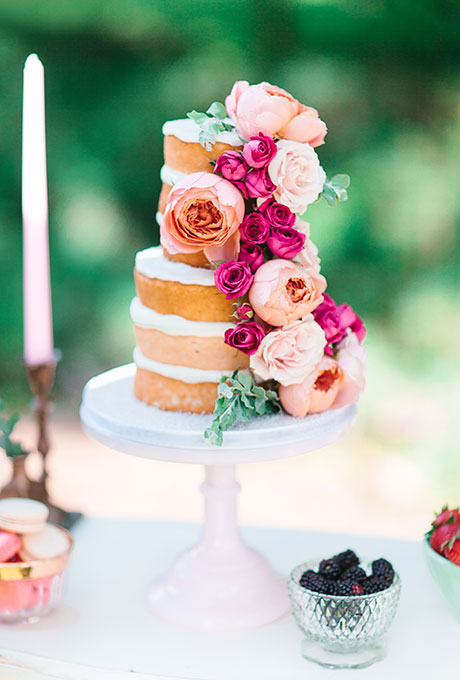 Peach and Pink Floral Naked Cake