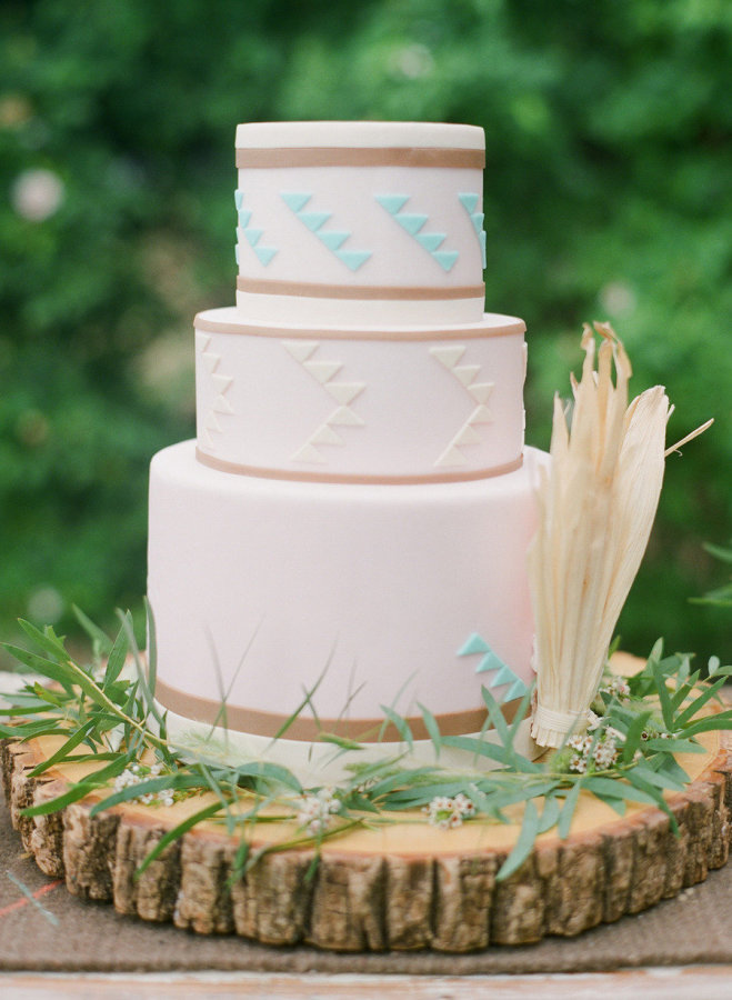 Simple tribal wedding cake