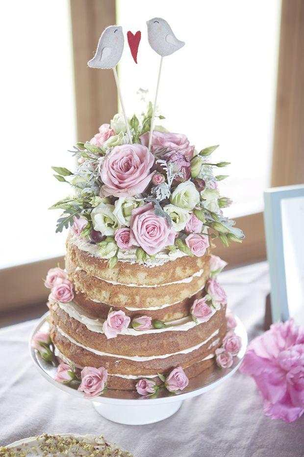 Top 5 styles of wedding cakes the bohemian wedding naked wedding cake with pink flowers mightylinksfo