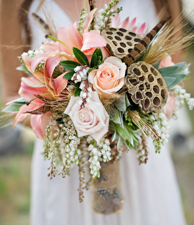 Peach and Honeycomb Flower and Feather Bouquet