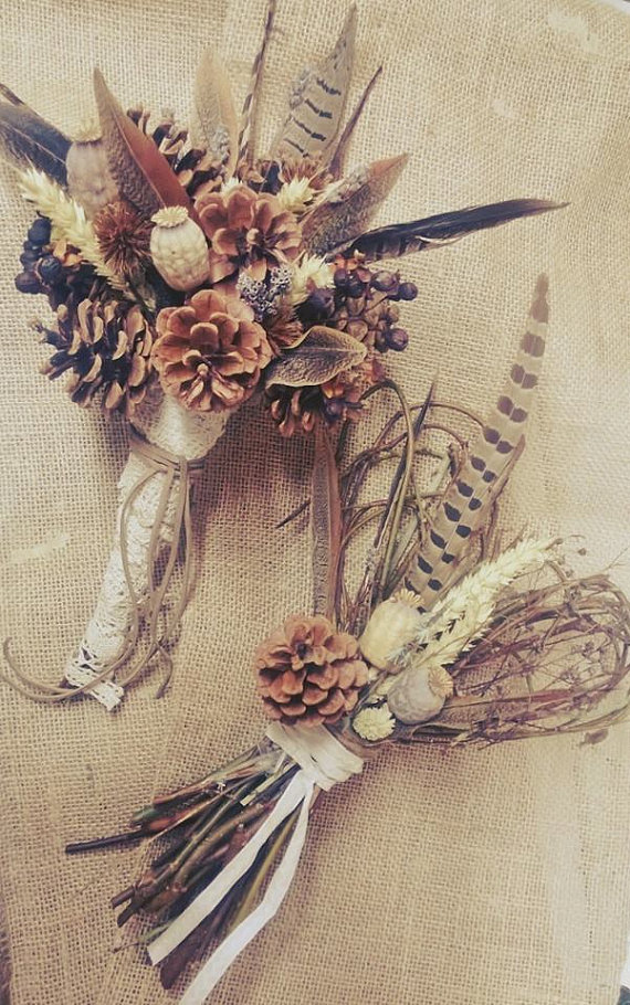 Flower and Feather Bouquet