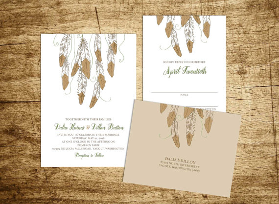 Etsy Printable Boho Invites