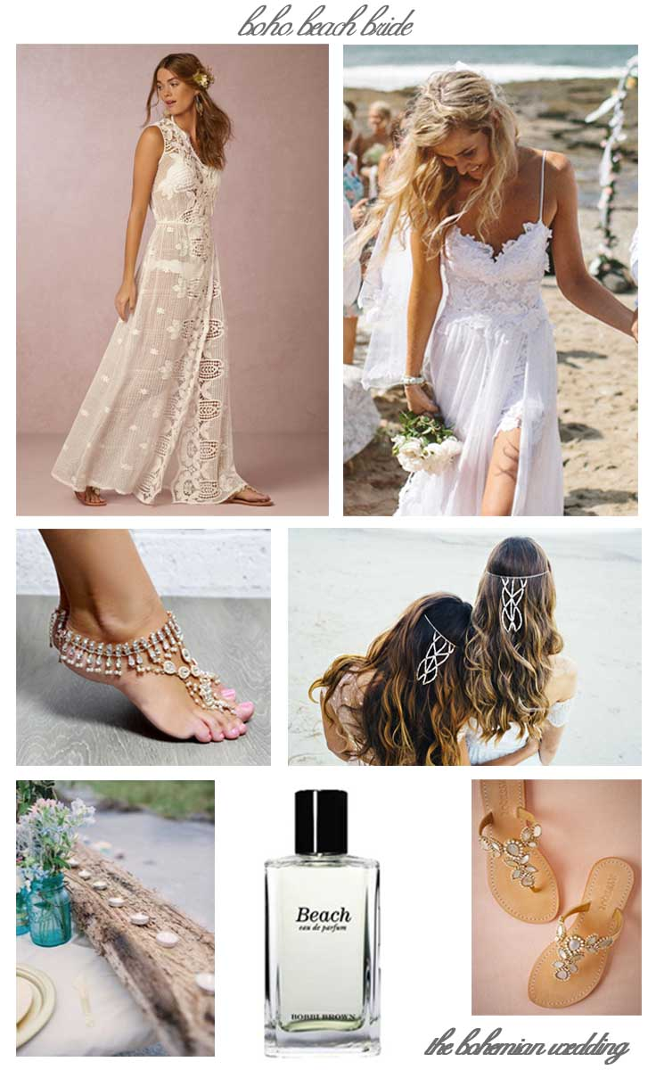 The Bohemian Wedding Beach Bride Collage