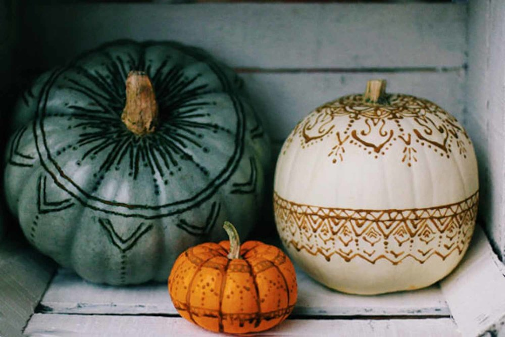 Henna & Wood Burned Pumpkins