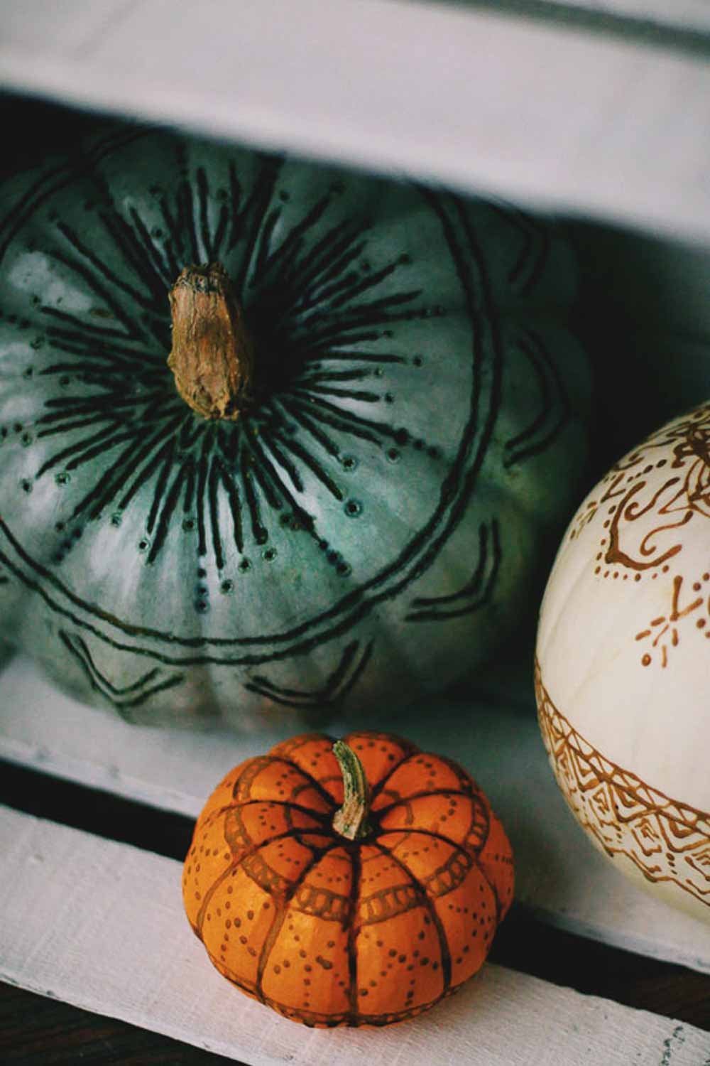 Henna & Wood Burned Pumpkins 5