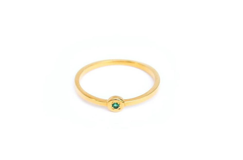 Gold Band with Emerald Alice York