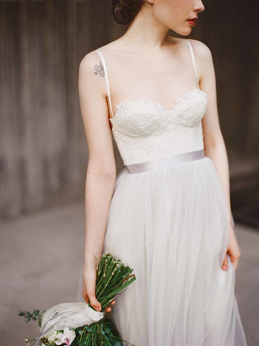 Etsy grey wedding dress close up