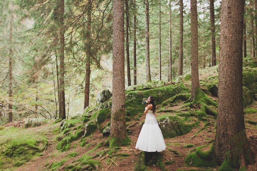 Boho Wedding in the Alps bride in forest.jpg