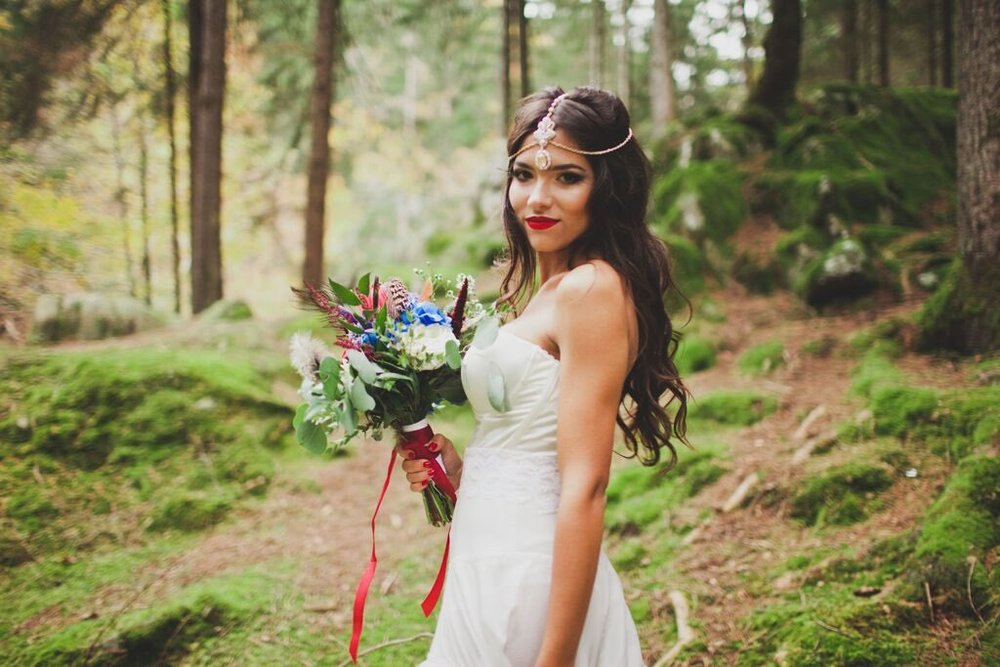 Boho Wedding in the Alps forest bride and flowers 2.jpg
