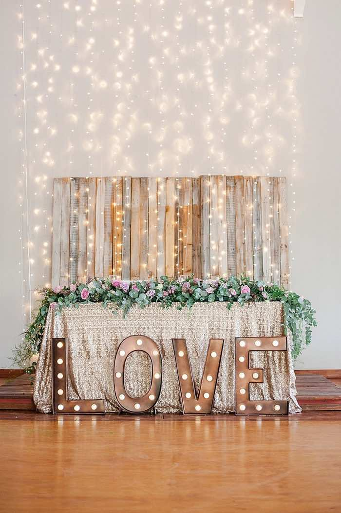 gold marquee letters for a wedding