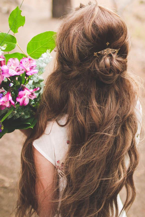 Diy Half Updo Wedding Hair Tutorial The Bohemian Wedding